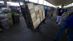 Carregador de mercadorias do CEAGESP volta para buscar mais mercadorias no Mercado Livre do Produtor (MLP). Foto: Marcos Santos / USP Imagens