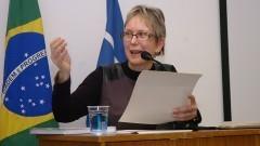 Profª Emma Otta, na abertura da comemoração dos 40 anos do Instituto de Psicologia. Foto: Cecília Bastos/Jornal da USP