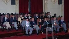 Autoridades na palestra do professor Celso Lafer na Faculdade de Direito da USP. Foto: Francisco Emolo/Jornal da USP.