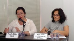 Profª Naxhelli Ruiz, da Universidade Autônoma do México e Profª Ana Fani Alessandri Carlos da USP.  Foto: Francisco Emolo/Jornal da USP