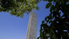 Vista da Torre da Praça do Relógio e árvores em primeiro plano. Foto: Marcos Santos / USP Imagens
