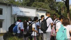 10ª Feira USP e as Profissões. Alunos aguardam a abertura da feira que aconteceu de 18 a 20 de agosto no Parque Cientec. 2016/08/18 Foto: Marcos Santos/USP Imagens