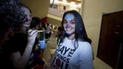 Caloura participa do trote na FFLCH. Foto: Marcos Santos/USP Imagens