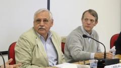 Professores Ladislau Dowbor e André Singer. Foto: Marcos Santos/USP Imagens