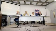 Mark Hillary, Eugênio Bucci, Caco Barcellos e Carlos Eduardo Lins. Foto: Marcos Santos/USP Imagens