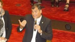 Presidente do Equador Rafael Correa na Faculdade de Direito. Foto: Marcos Santos/USP Imagens
