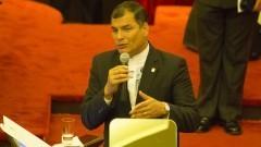 Presidente do Equador (gestão 2013-2016), Rafael Correa discursa na Faculdade de Direito do Largo São Francisco. Foto: Marcos Santos / USP Imagens