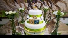 """Detalhe de bolo em mesa com arranjos em primeiro plano e quadro com cavalos ao fundo, em comemoração aos 95 anos de criação do curso de Medicina Veterinária e dos 80 anos de criação da FMVZ. Evento realizado no anfiteatro """"Altino Antunes"""". Foto: Marcos Santos/USP Imagens"""