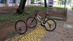 Bicicleta e pneu de bicicleta estacionados no bicicletário da ECA. Foto: Marcos Santos/USP Imagens