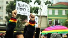 """""""Quero me aposentar"""" cartaz greve geral 2017 – George Campos / USP Imagens"""
