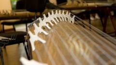 Detalhe do instrumento okoto durante recital de música japonesa no  Auditório Olivier Toni do Departamento de Música. Foto: Marcos Santos/USP Imagens