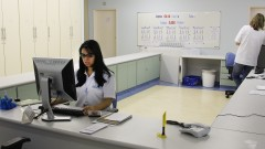Recepção do laboratório do Hospital Universitário da Universidade de São Paulo (HU - USP), na Cidade Universitária, em São Paulo. Foto: Marcos Santos.