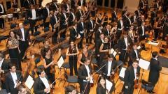 Detalhe da Orquestra Sinfônica da USP (OSUSP) durante apresentação na Sala São Paulo, sob a regência de Ligia Amadio, na cerimônia de posse do professor João Grandino Rodas como Reitor da USP em 25/01/2010. Foto: Marcos Santos / USP Imagens