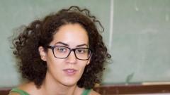 Detalhe para Luiza Rosa, integrante do Laboratório de Dramaturgia do Corpo (LadCor) da Escola de Comunicações e Artes (ECA). Foto: Marcos Santos / USP Imagens