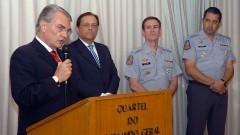 Secretario Antonio Ferreira Pinto, Reitor João Grandino Rodas, Cel PM Alvaro Batista Camilo e oficial PM. Foto: Francisco Emolo/Jornal da USP