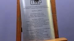 Placa inauguração do Bloco Didático da FOFITO FMUSP. Foto: Francisco Emolo/Jornal da USP