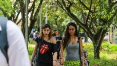 Alunas caminhando no campus – Recepção no dia da Matrícula dos Ingressantes pela FUVEST. 2017/02/13 Foto: Luenne Neri/USP Imagens