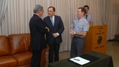 Secretário Antonio Ferreira Pinto, Reitor João Grandino Rodas e Cel PM Alvaro Batista Camilo. Foto: Francisco Emolo/Jornal da USP