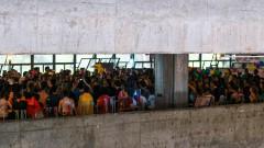Alunos da FAU USP no piso do Museu durante evento conduzido pelo Coro de Carcarás na Semana de Recepção aos Calouros. 2017/03/06 Foto: Luenne Neri/USP Imagens