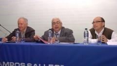 Eduardo Basaglia, Jean Lauand e Roberto Castro no Seminário Filosofia e Educação_ Universidade. Foto: Cecília Bastos/Jornal da USP