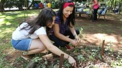 Ana Carolina Prager e Géssica Vaz Franco. FSP - Faculdade de Saúde Pública. Mutirão da horta. 2017/02/23 Foto: Marcos Santos/USP Imagens