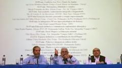Gabriel Perissé, Jean Lauand e Roberto Castro no Seminário Filosofia e Educação_ Universidade. Foto: Cecília Bastos/Jornal da USP