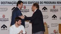 Henrique Pecora, Gilberto Kassab e João Grandino Rodas. Foto: Francisco Emolo / Jornal da USP