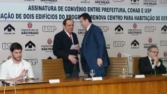 Henrique Pecora, João Grandino Rodas, Gilberto Kassab e Sylvain Itté. Foto: Francisco Emolo/ Jornal da USP