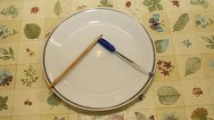 Detalhe de prato branco, com caneta e lápis dentro, sobre uma mesa. Foto: Marcos Santos / USP Imagens