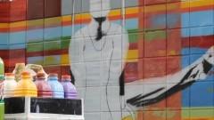 Grafite no muro de entrada do Centro de Práticas Esportivas da USP (Cepeusp) - Foto: Pedro Bolle / USP Imagens