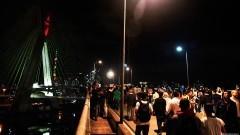 Manifestantes chegam a ponte Estaiada (Ponte Octávio Frias de Oliveira). George Campos / USP Imagens