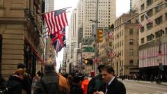 Bandeiras do Estados Unidos e da Inglaterra vista em Nova Yorke - Estados Unidos, Nova York – George Campos / USP Imagens