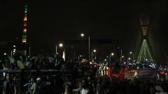 Ponte estaiada tomada pelos manifestantes. George Campos / USP Imagens