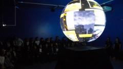 Detalhe da esfera-telão do Ciência na Esfera durante apresentação aos estudantes em visita ao Instituto Oceanográfico (IOUSP). Foto: Marcos Santos / reg. 105-16 IO