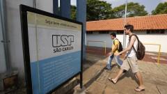 Detalhe de alunos no Campus de São Carlos. Foto: Cecília Bastos/USP Imagens