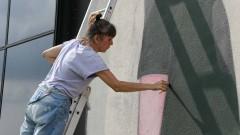 Ju Violeta finaliza pintura, a convite da ONU Mulheres, painel na Semana de arte HeForShe no Espaço das Artes, atigo prédio do MAC na cidade Universitária. 2017/03/08 Foto: Marcos Santos/USP Imagens