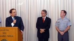 Reitor João Grandino Rodas, Secretário Antonio Ferreira Pinto e Cel PM Alvaro Batista Camilo. Foto: Francisco Emolo/Jornal da USP