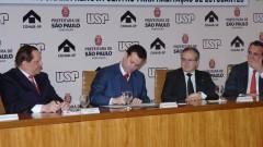 João Grandino Rodas, Gilberto Kassab, Sylvain Itté e Ricardo Pereira Leite. Foto: Francisco Emolo/ Jornal da USP