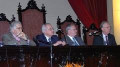 Celso Lafer, Antonio Magalhães Gomes Filho, Marco Antonio Zago e Nicolau Reinhard, abertura do Ciclo de Conferências USP. Foto: Francisco Emolo/Jornal da USP.