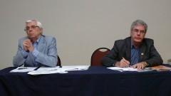 Benedito Carlos Maciel e Jose Carlos Pereira, no 2º Encontro de Dirigentes da USP (GEINDI). Crédito: Francisco Emolo/Jornal da USP
