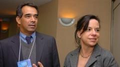 Prof. Marcelo Pereira e Promotora Vania Tuglio (presidente da comissão organizadora). Foto: Cecília Bastos/Jornal da USP