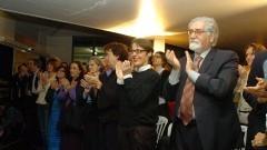 Término da palestra de Antonio Candido, falando sobre Sérgio Buarque de Holanda. Foto: Francisco Emolo/Jornal da USP