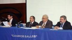Pedro Henrique Ribeiro, Boguslaw Banaszak, Jean Lauand, Paulo Ferreira da Cunha. Foto: Francisco Emolo / Jornal da USP