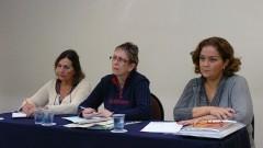 Helena Ribeiro, Emma Otta e Diná de Almeida, no 2º Encontro de Dirigentes da USP (GEINDI). Crédito: Francisco Emolo/Jornal da USP