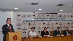 Ricardo Leite, Henrique Pecora, João Grandino Rodas, Gilberto Kassab e Sylvain Itté. Foto: Francisco Emolo/ Jornal da USP