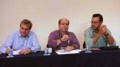 Rodney Garcia Rocha, Renato de Figueiredo Jardim e Sergio de Albuquerque, no 2º Encontro de Dirigentes da USP (GEINDI). Crédito: Francisco Emolo/Jornal da USP