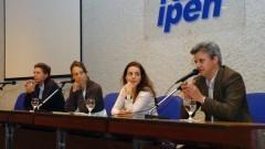 Xavier Rouau, Giovana Tommaso, Diana Sousa e Antonio Jose Meireles, no Encontro sobre Agroenergia na USP. Foto: Francisco Emolo/Jornal da USP