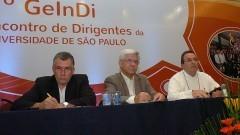 Albérico Borges Ferreira da Silva, Fernando Rei Ornellas e Douglas Emygdio de Faria, no 2º Encontro de Dirigentes da USP (GEINDI). Crédito: Francisco Emolo/Jornal da USP