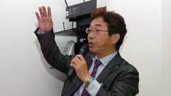 Sohichi Uekihara, no 1º Workshop Internacional de Cuidados Paliativos no HU/USP. Crédito: Francisco Emolo/Jornal da USP