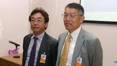 Sohichi Uekihara e Minoru Yoshida no 1º Workshop Internacional de Cuidados Paliativos no HU/USP. Crédito: Francisco Emolo/Jornal da USP